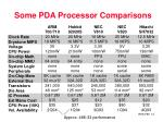 some pda processor comparisons14