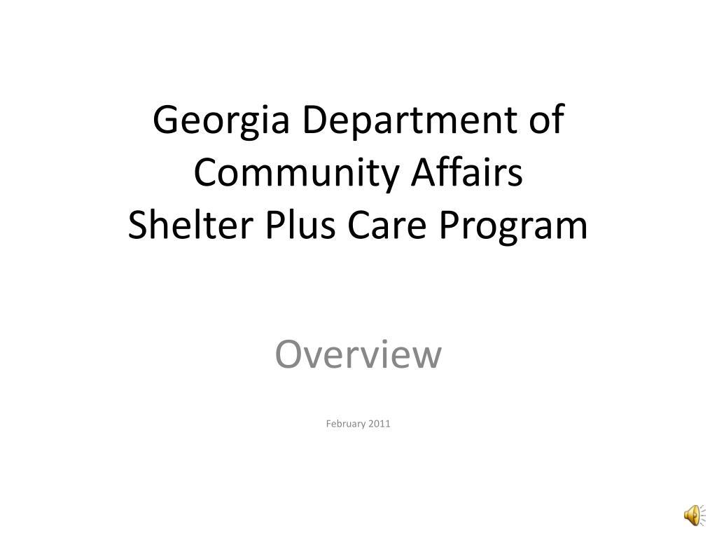 georgia department of community affairs shelter plus care program l.