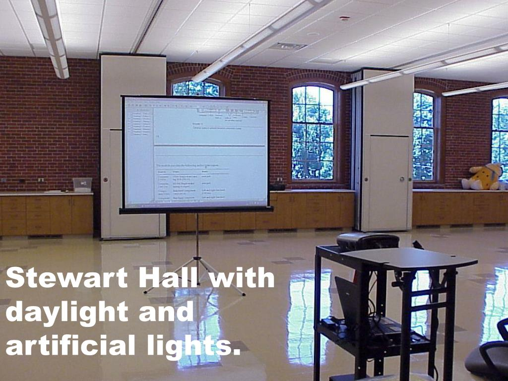 Stewart Hall with daylight and artificial lights.
