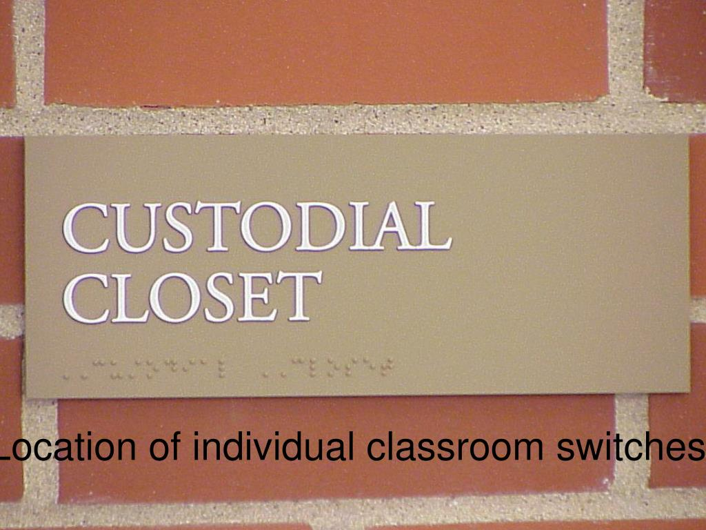 Location of individual classroom switches