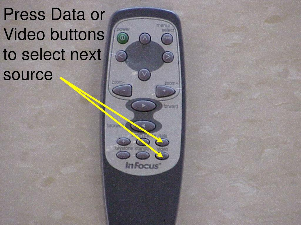 Press Data or Video buttons to select next source
