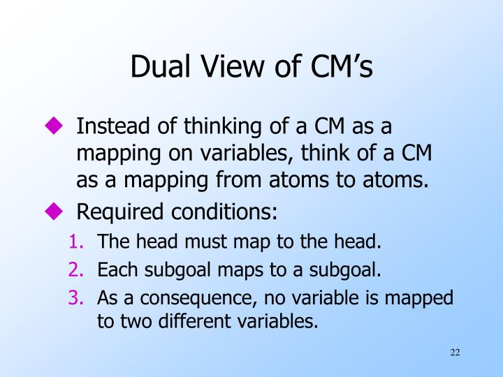 Dual View of CM's
