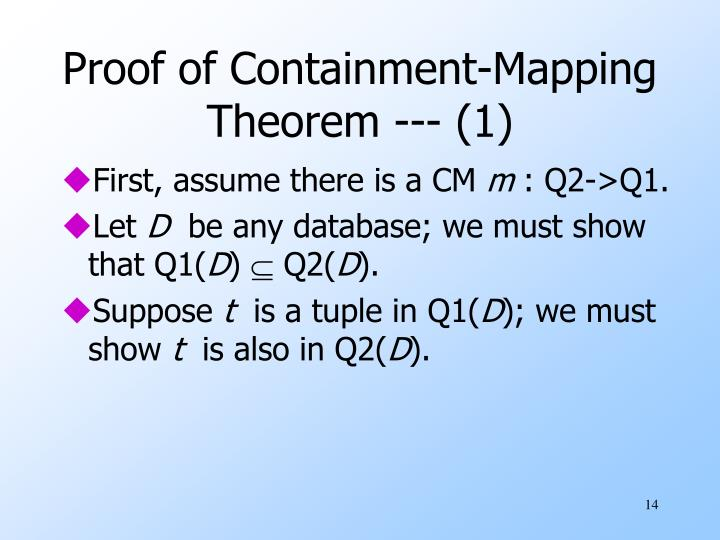 Proof of Containment-Mapping Theorem --- (1)