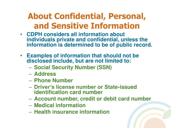 About confidential personal and sensitive information