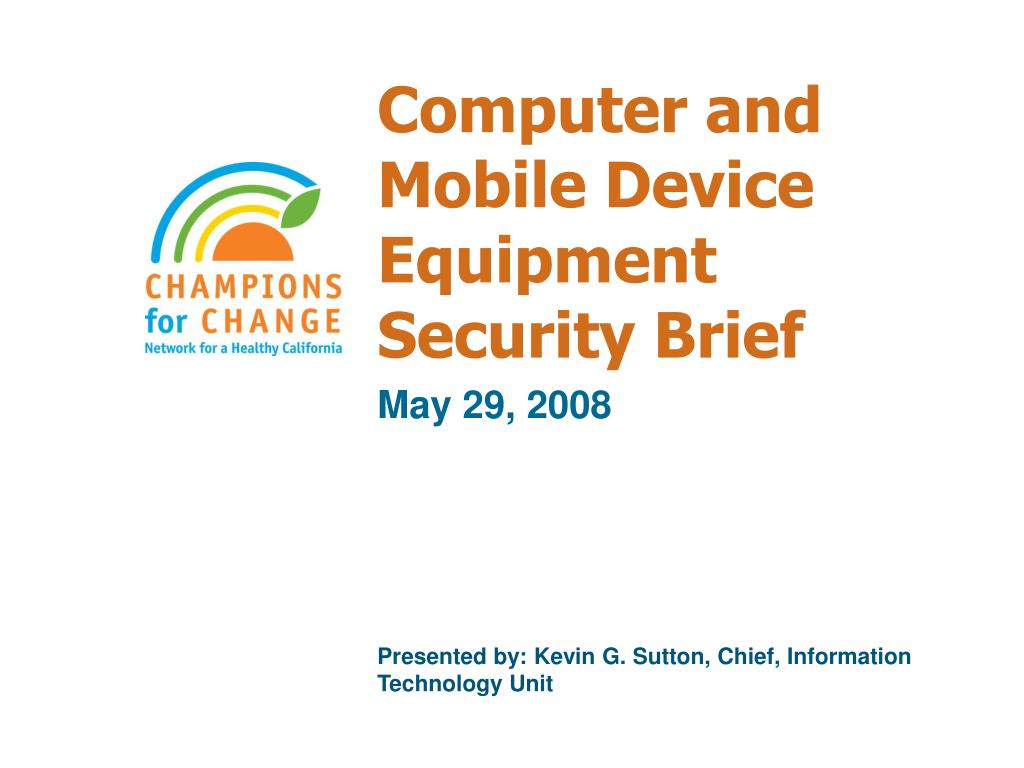 Computer and Mobile Device Equipment Security Brief