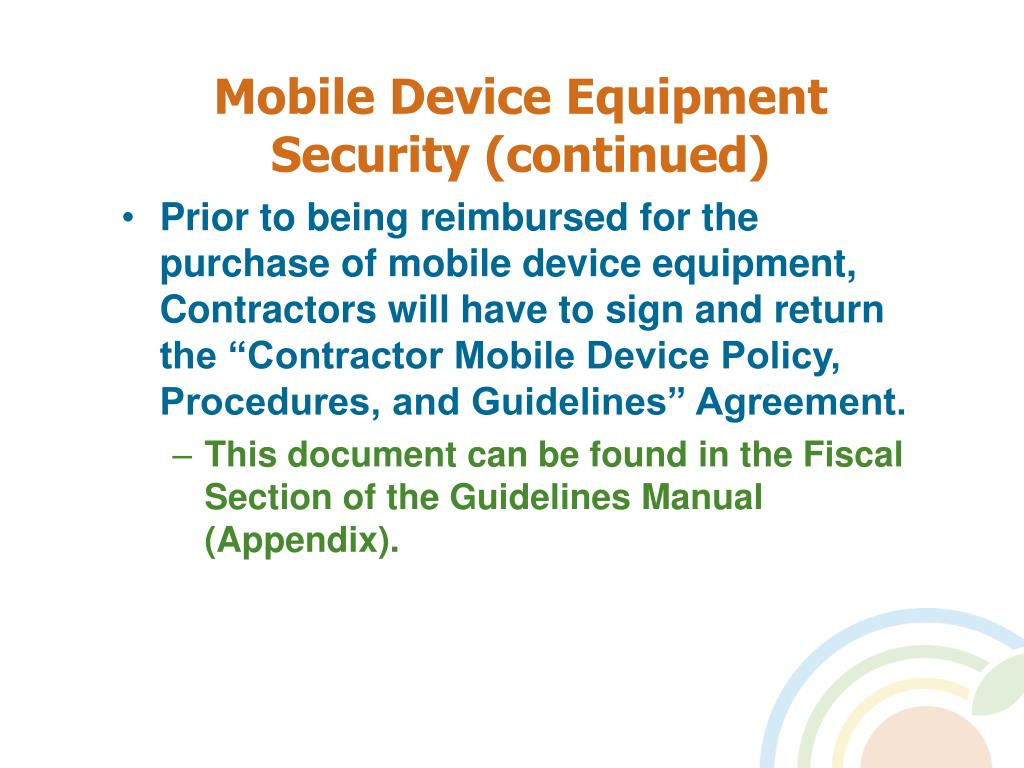 Mobile Device Equipment Security (continued)