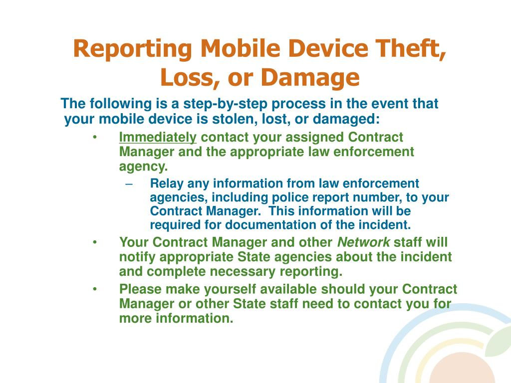 Reporting Mobile Device Theft, Loss, or Damage