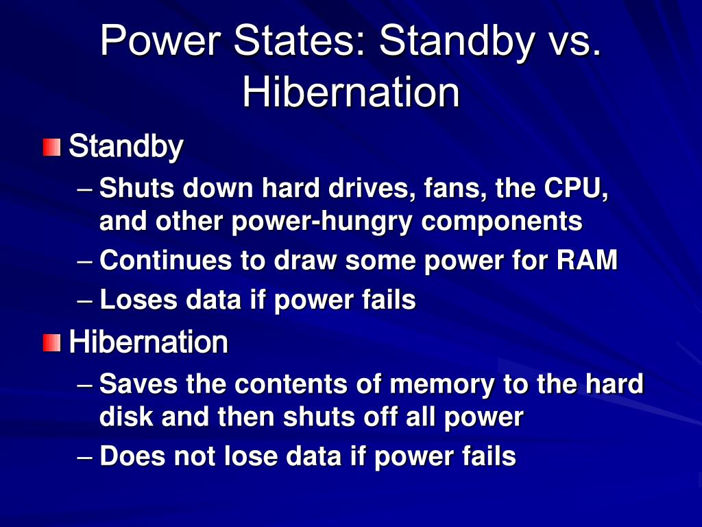 Power States: Standby vs. Hibernation