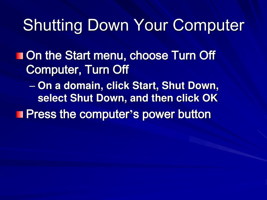 Shutting Down Your Computer
