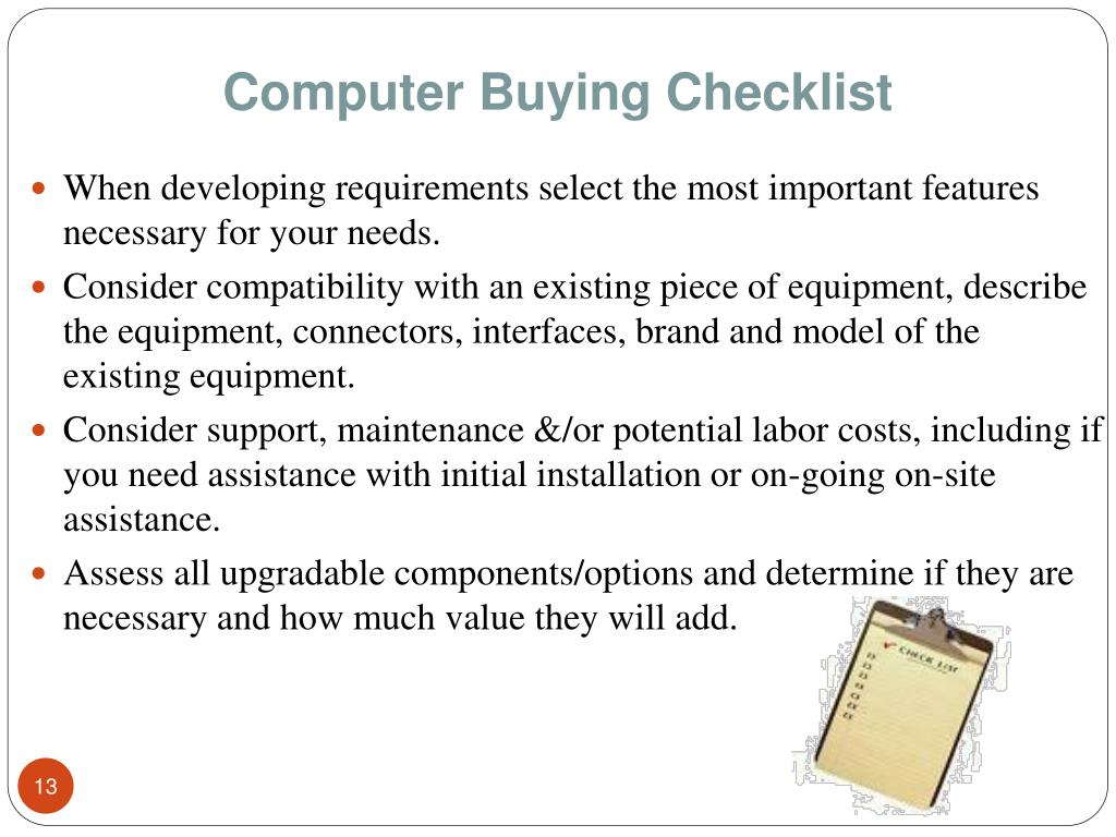 Computer Buying Checklist