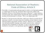 national association of realtors code of ethics article 9