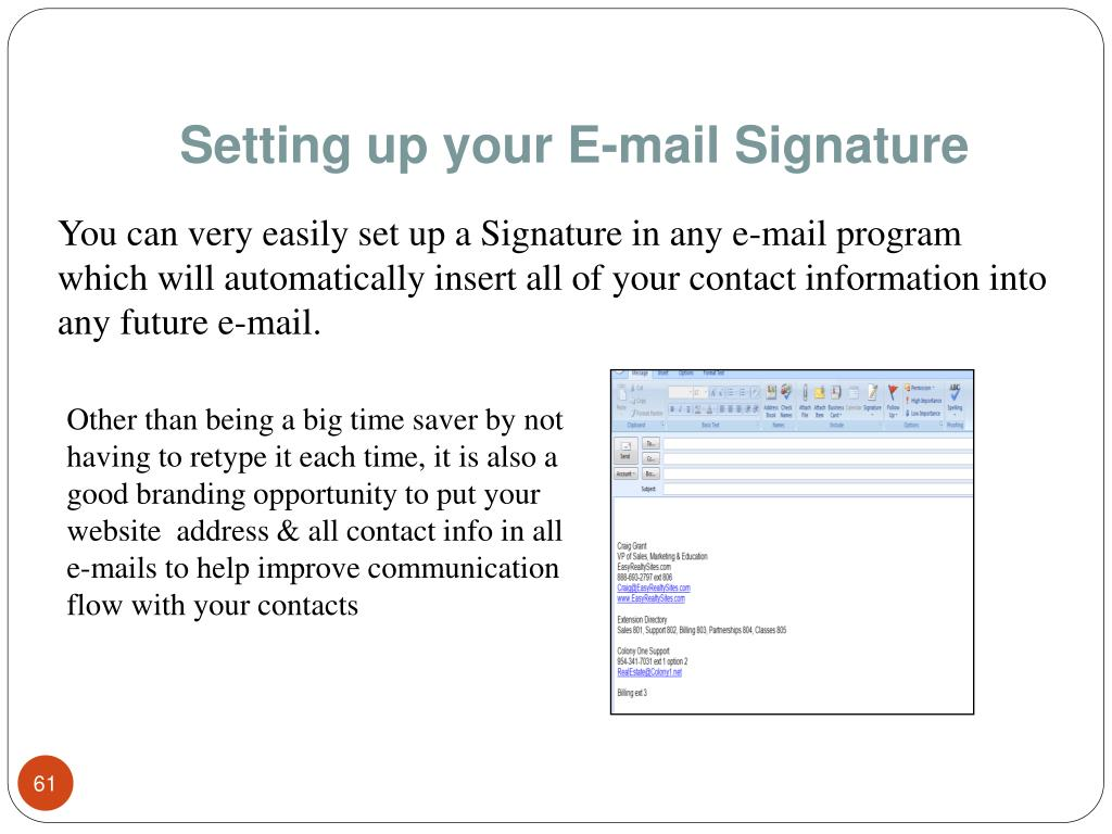 Setting up your E-mail Signature