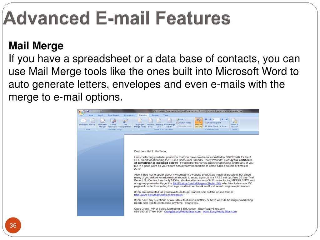 Advanced E-mail Features