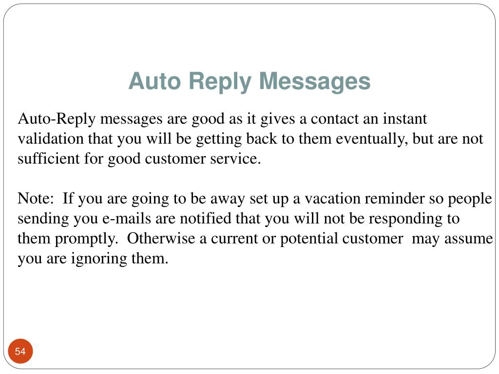 Auto Reply Messages