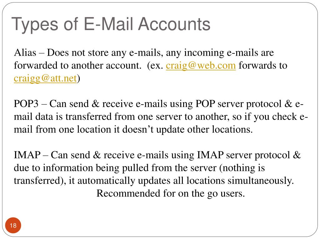 Types of E-Mail Accounts