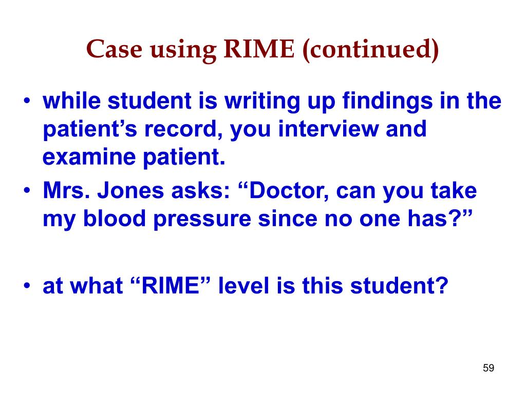 Case using RIME (continued)