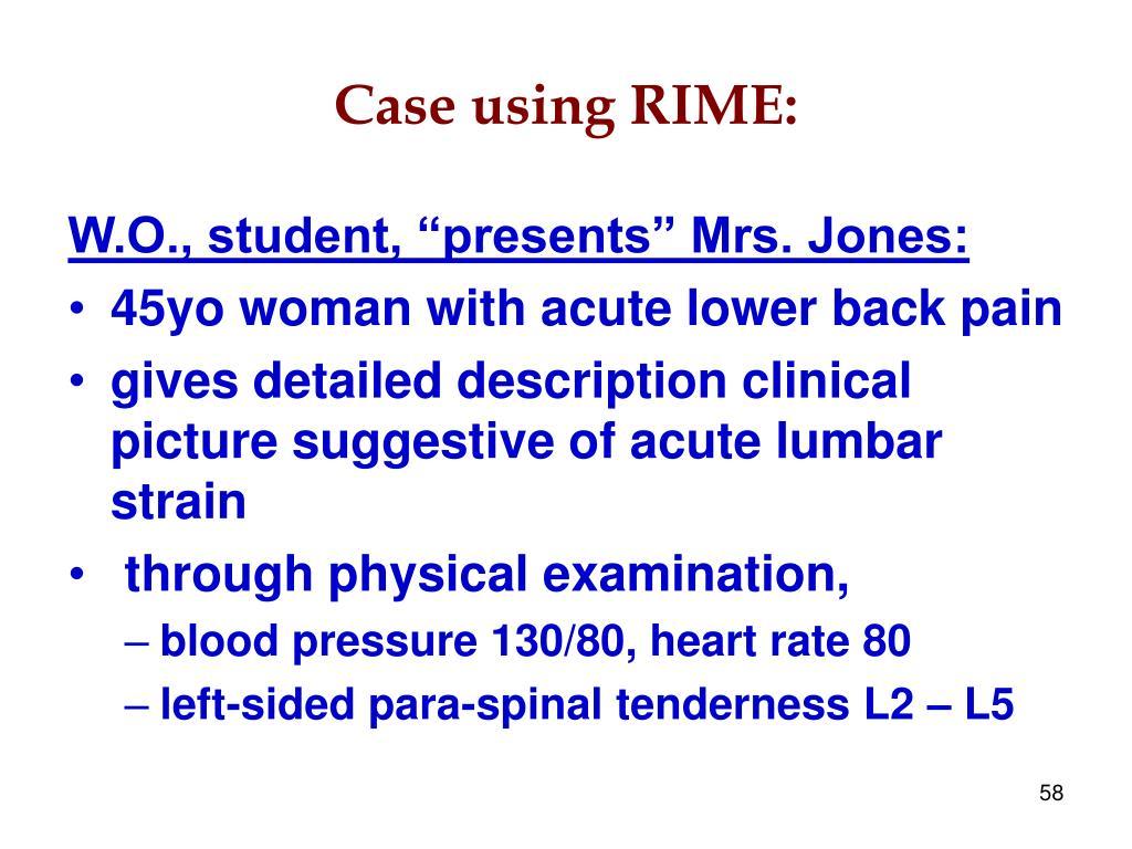 Case using RIME:
