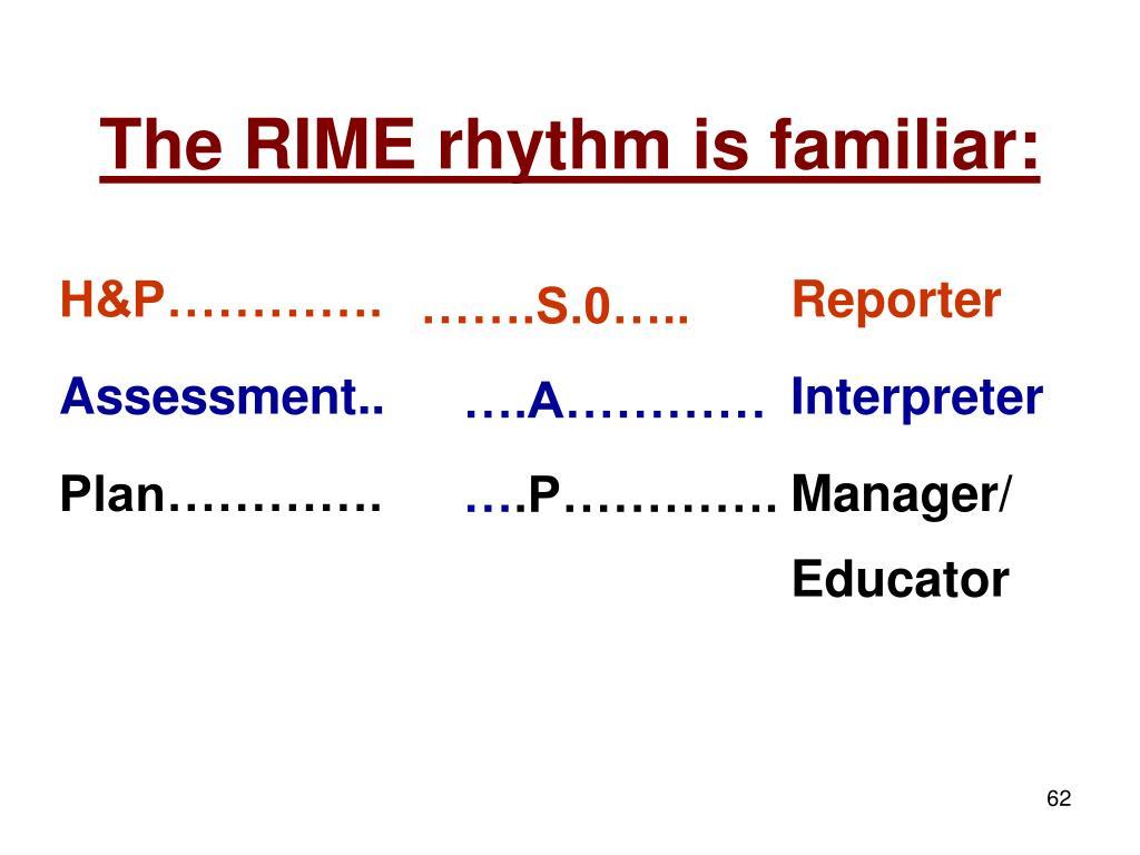 The RIME rhythm is familiar:
