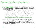 general post award reminders