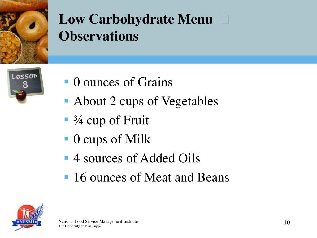 Low Carbohydrate Menu
