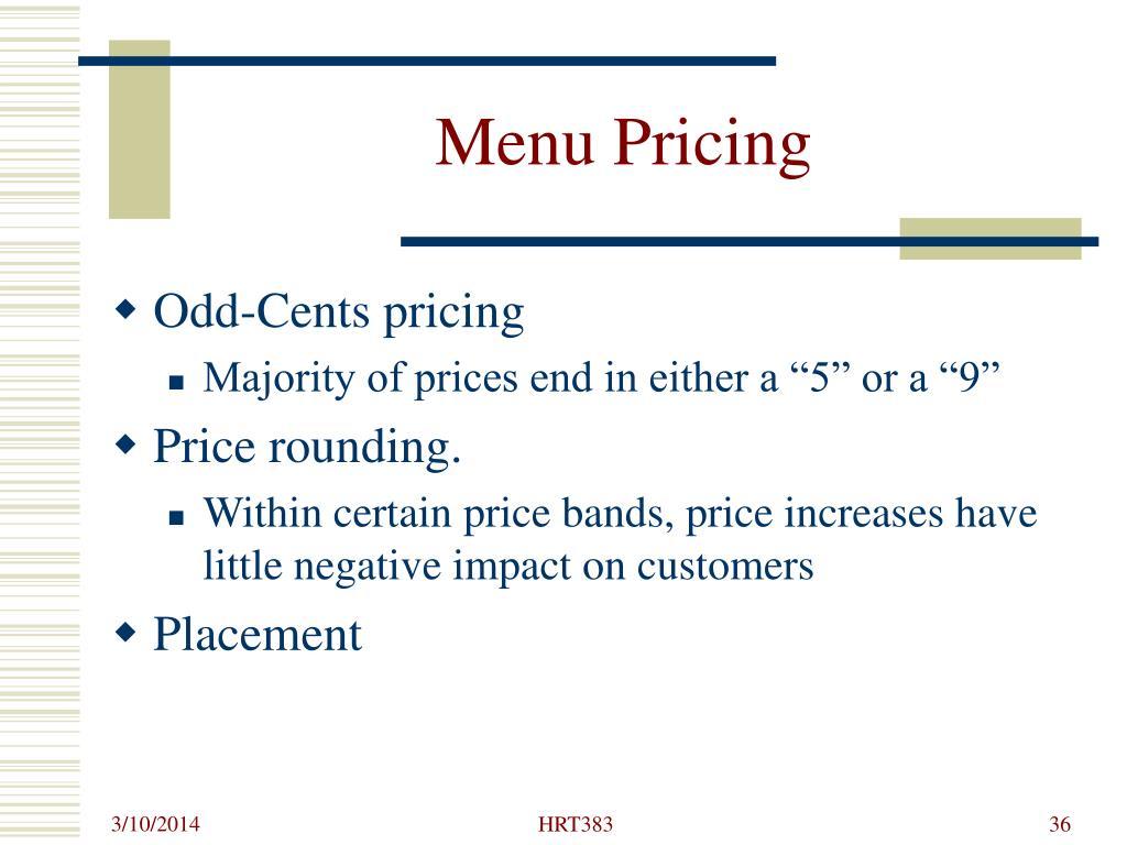 Menu Pricing
