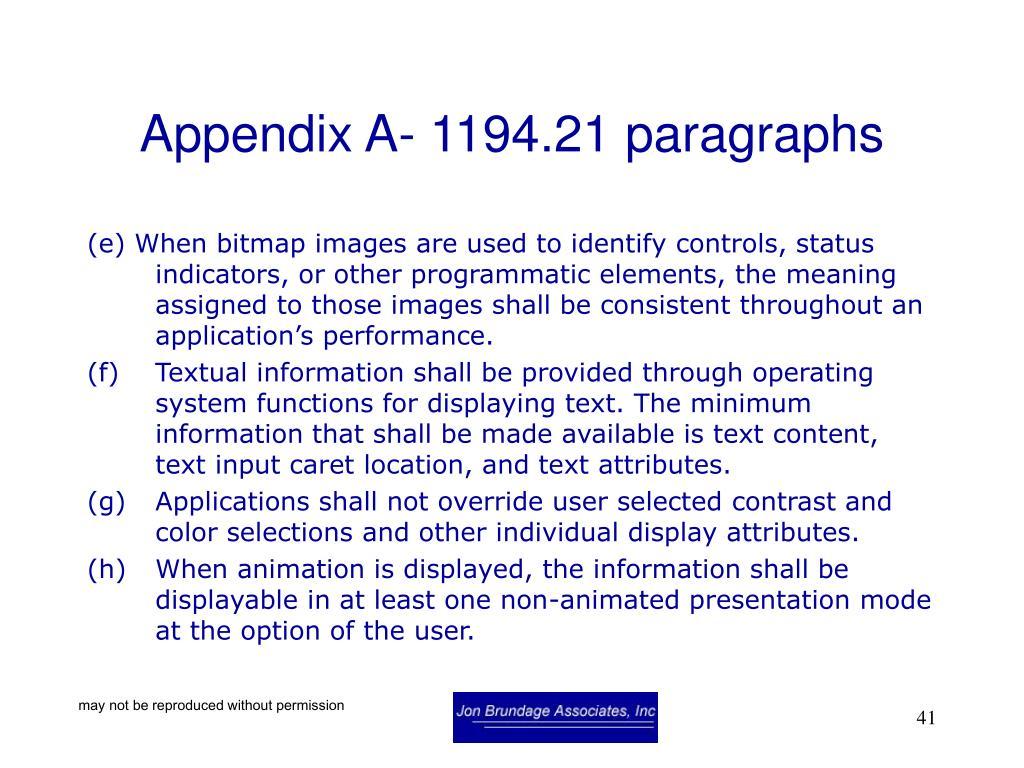 Appendix A- 1194.21 paragraphs