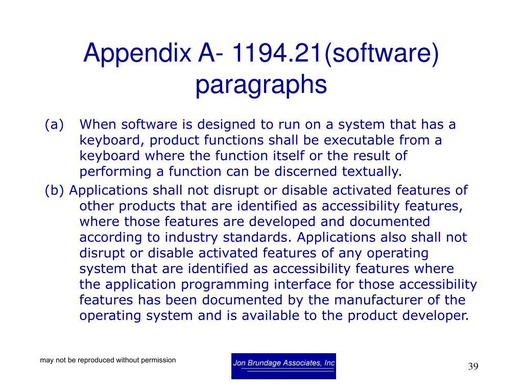 Appendix A- 1194.21(software) paragraphs