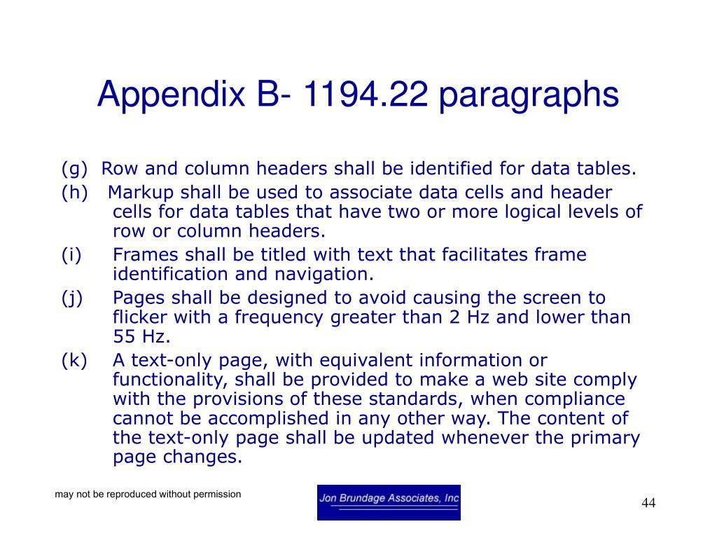 Appendix B- 1194.22 paragraphs
