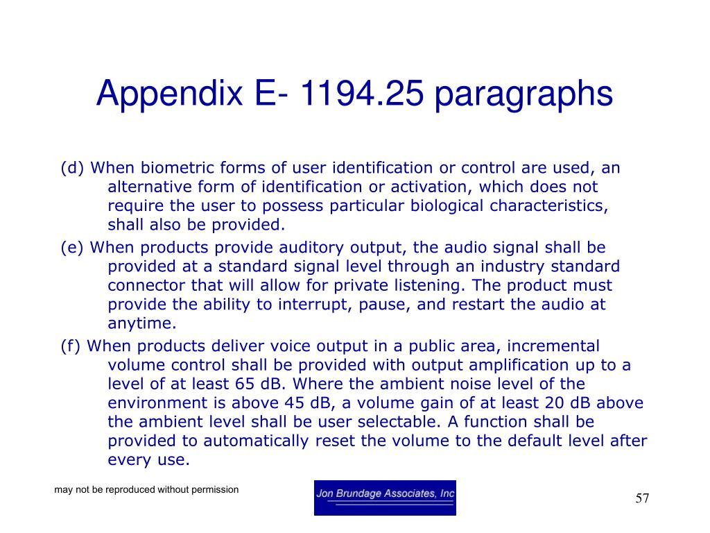 Appendix E- 1194.25 paragraphs