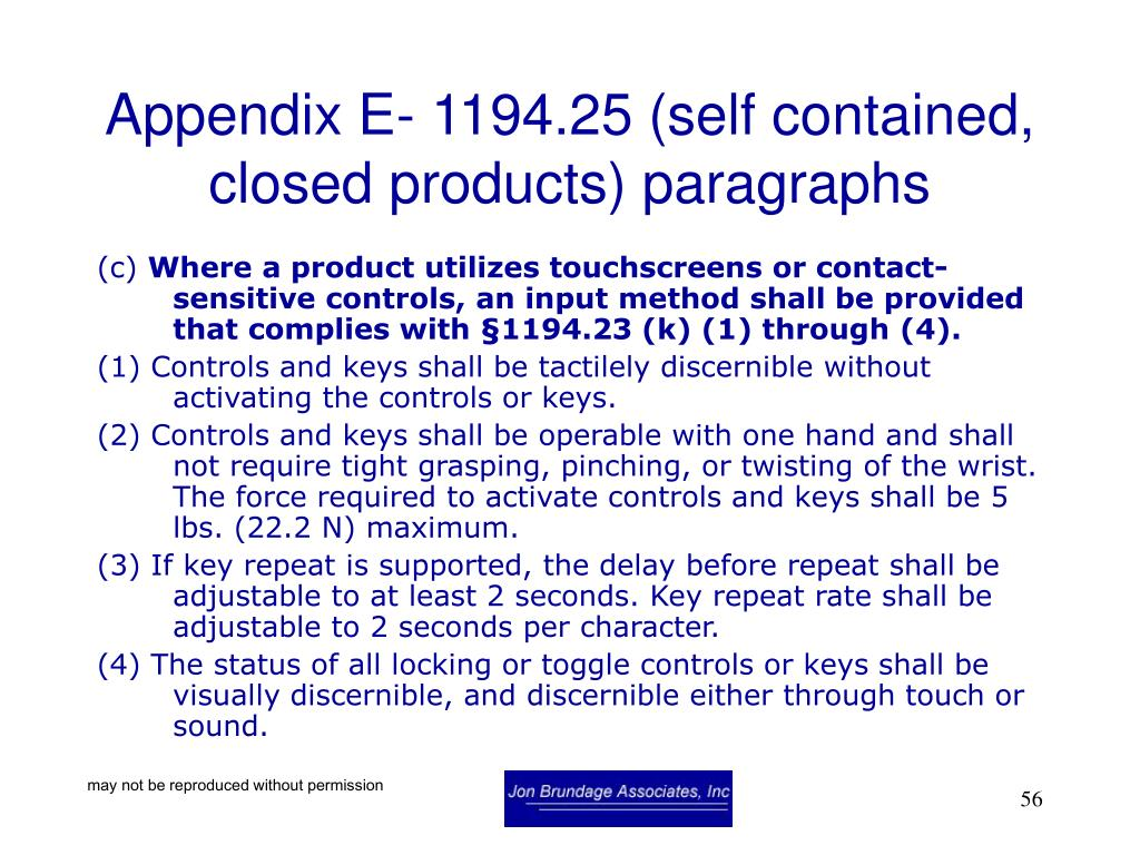 Appendix E- 1194.25 (self contained, closed products) paragraphs