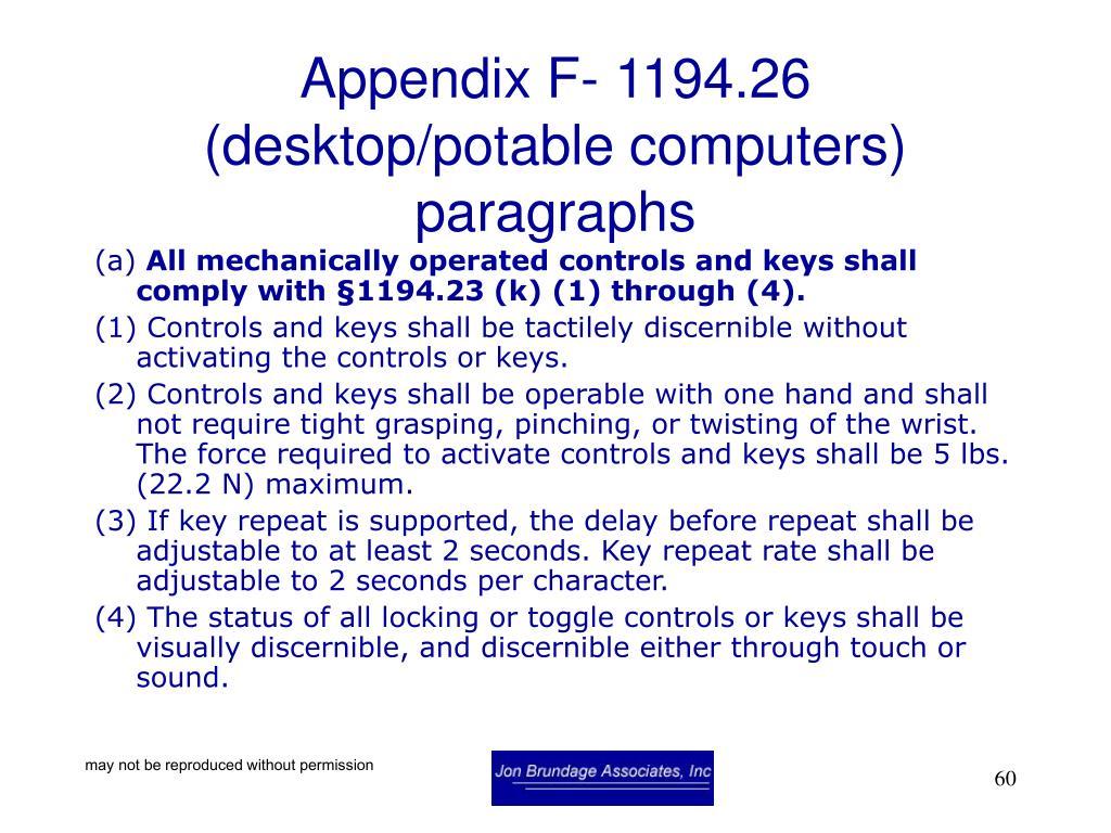 Appendix F- 1194.26 (desktop/potable computers) paragraphs
