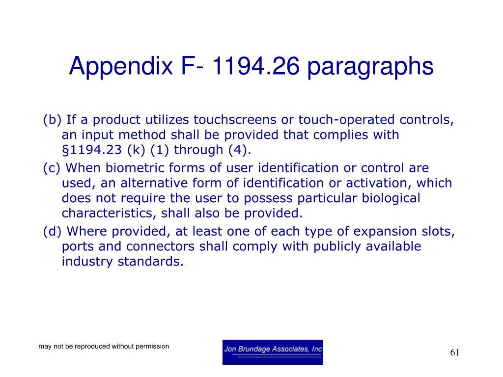 Appendix F- 1194.26 paragraphs