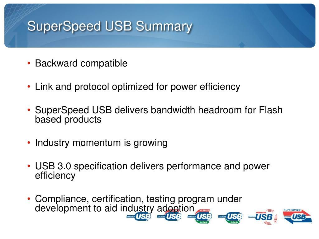 SuperSpeed USB Summary