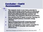 conclusion cont d recommendation