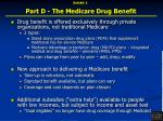 part d the medicare drug benefit