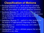 classification of motions