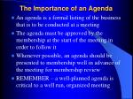 the importance of an agenda