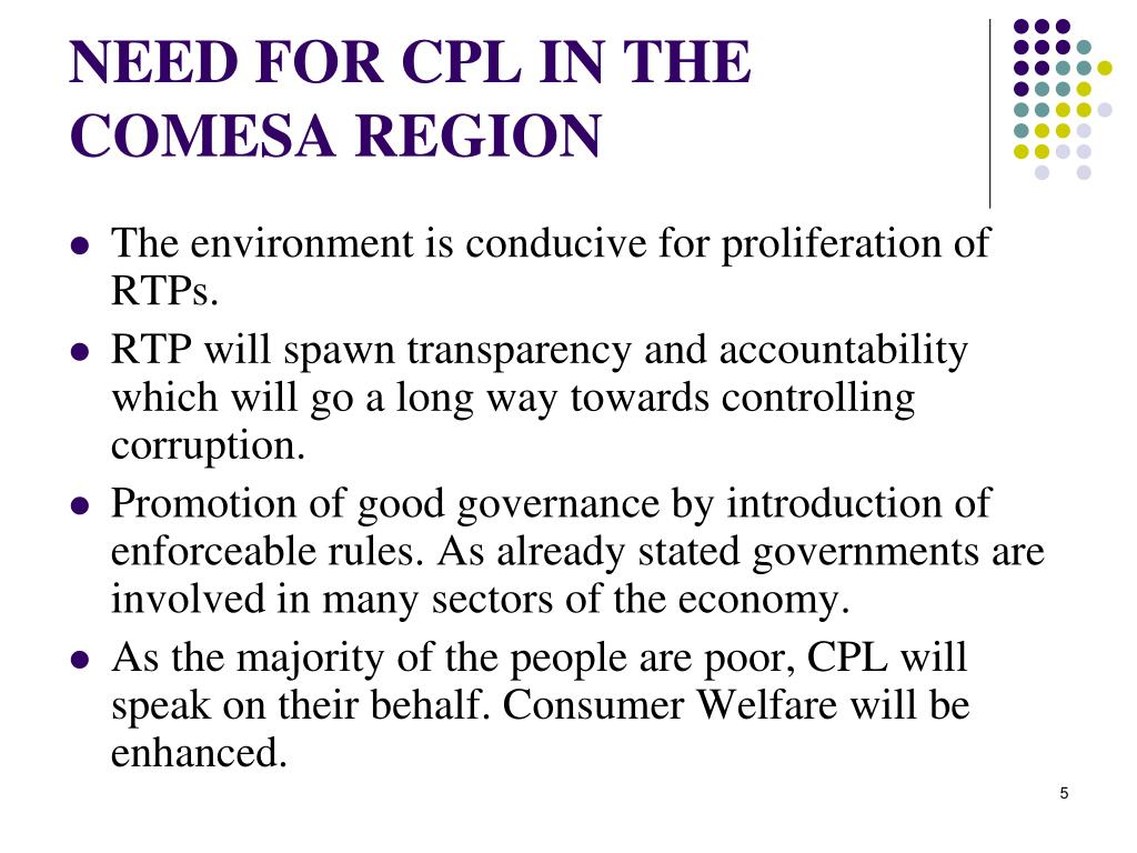 NEED FOR CPL IN THE COMESA REGION