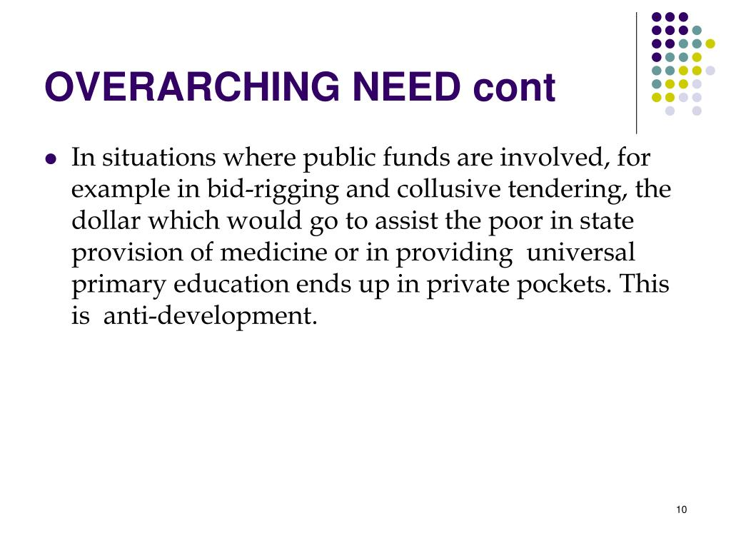 OVERARCHING NEED cont