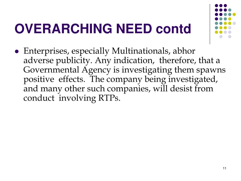 OVERARCHING NEED contd