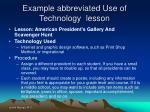 example abbreviated use of technology lesson