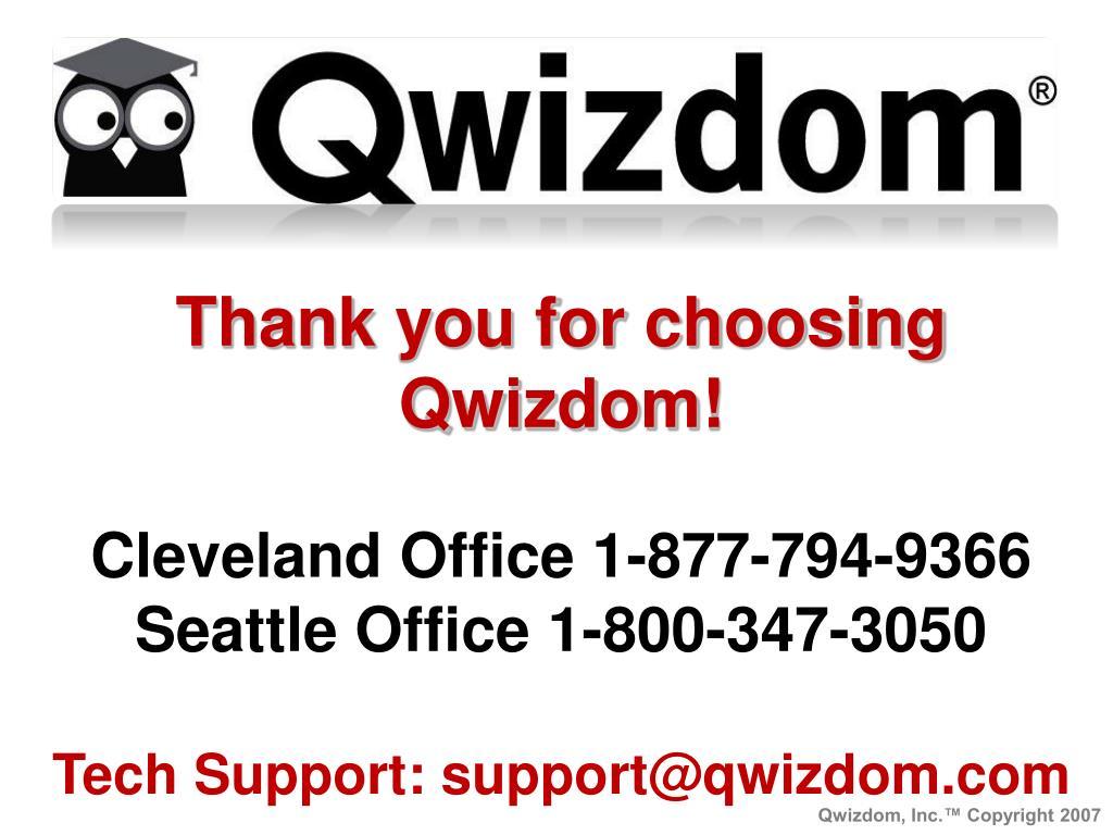 Thank you for choosing Qwizdom!