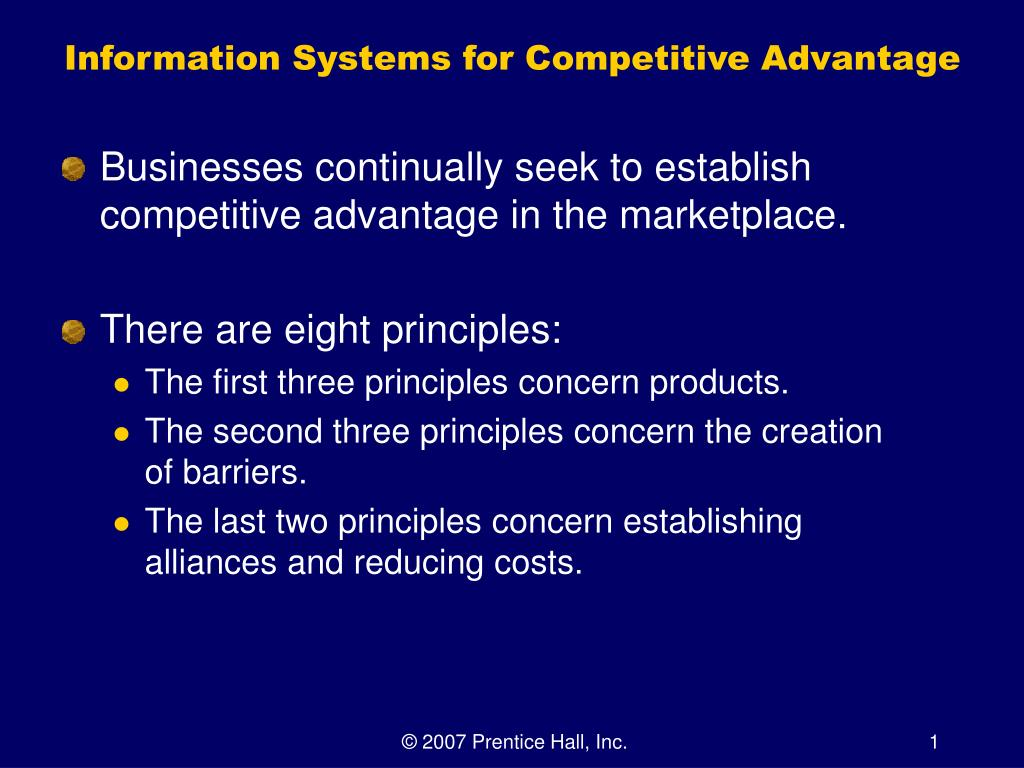 information as competitive advantage Competitive strategy is the search for a favorable competitive position in an industry, the fundamental arena in which competition occurs  competitive advantage grows fundamentally out of value a firm is able to create for its buyers that exceeds the firm's cost of creating.