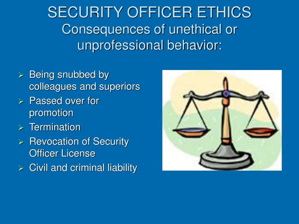 SECURITY OFFICER ETHICS