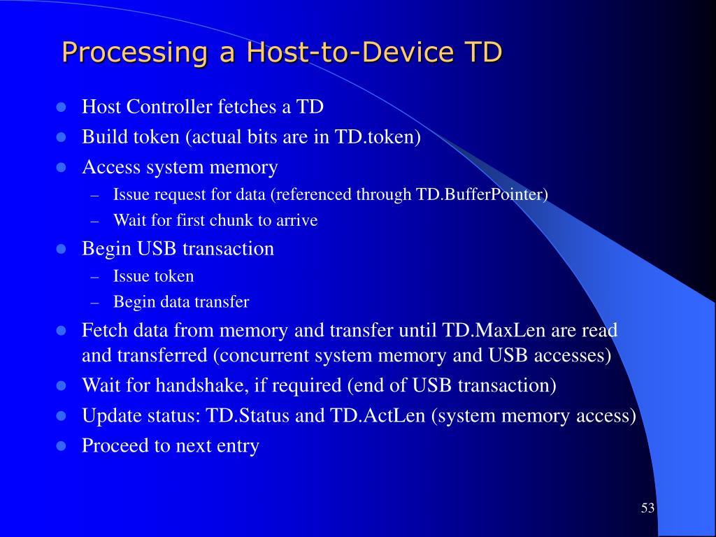 Processing a Host-to-Device TD