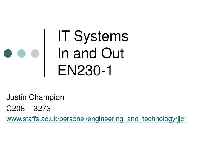 It systems in and out en230 1