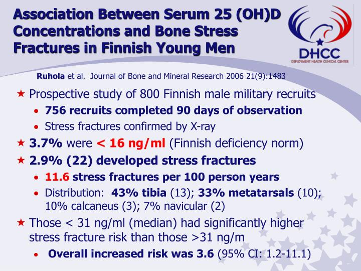 Association Between Serum 25 (OH)D Concentrations and Bone Stress                 Fractures in Finnish Young Men