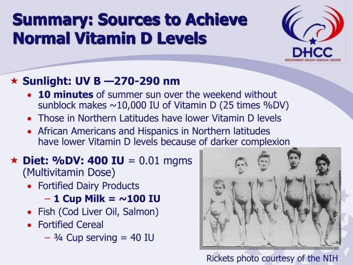 Summary: Sources to Achieve Normal Vitamin D Levels