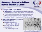 summary sources to achieve normal vitamin d levels