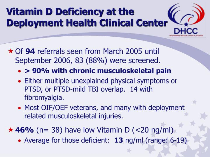 Vitamin D Deficiency at the Deployment Health Clinical Center